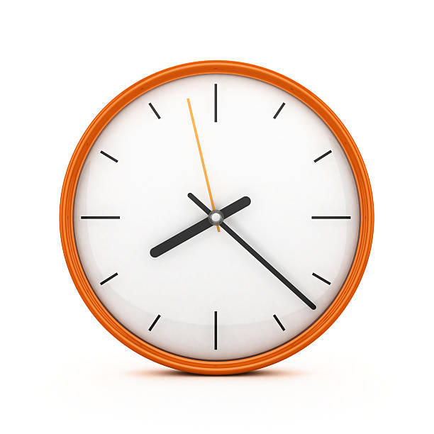 An orange clock on an isolated white background Orange clock isolated 3d rendered clock hand stock pictures, royalty-free photos & images
