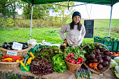 A young female farmer tending to vegetables on an organic farm stand outside on a autumn day.  The farm stand is on a sustainable, organic vegetable farm operating as community shared agriculture.