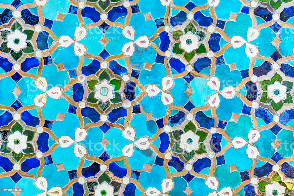 An oriental mosaic pattern on a mosque stock photo