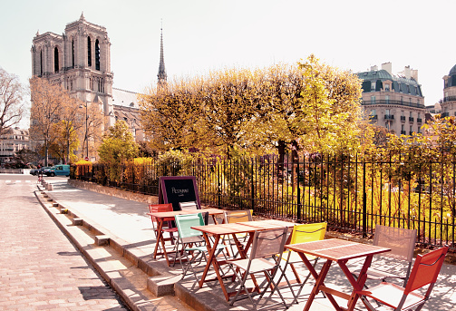 An outddoor cafe next to Notre Dame Cathedral in Paris
