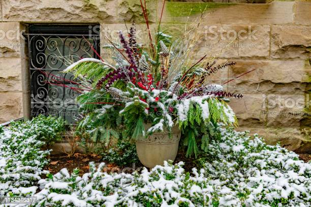 Photo of An Outdoor Holiday Planter covered with Snow