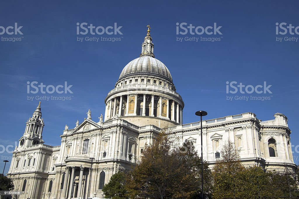 An outside shot of the St. Paul's Cathedral royalty-free stock photo