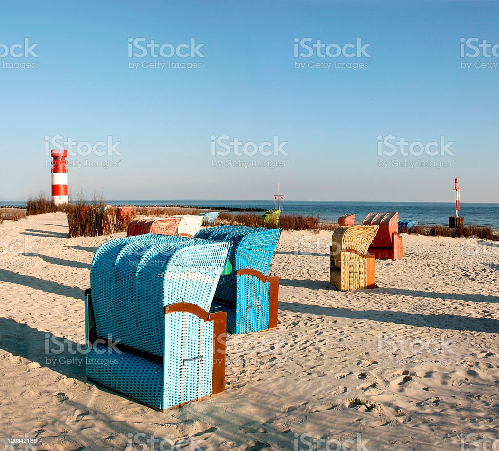 An outside view of the beach at Helgoland Dune in Germany stock photo
