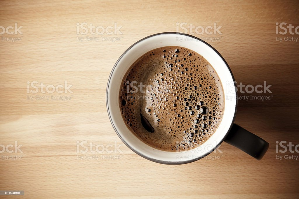 An over head shot of a mug of coffee royalty-free stock photo