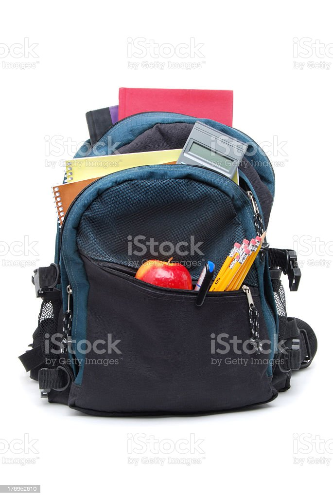An over loaded bag pack ready for school stock photo