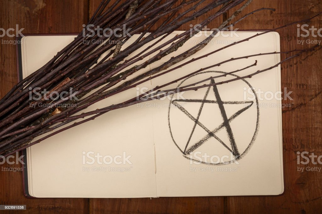 An overhead photo of an open grimoire with a handmade broom and copy space stock photo