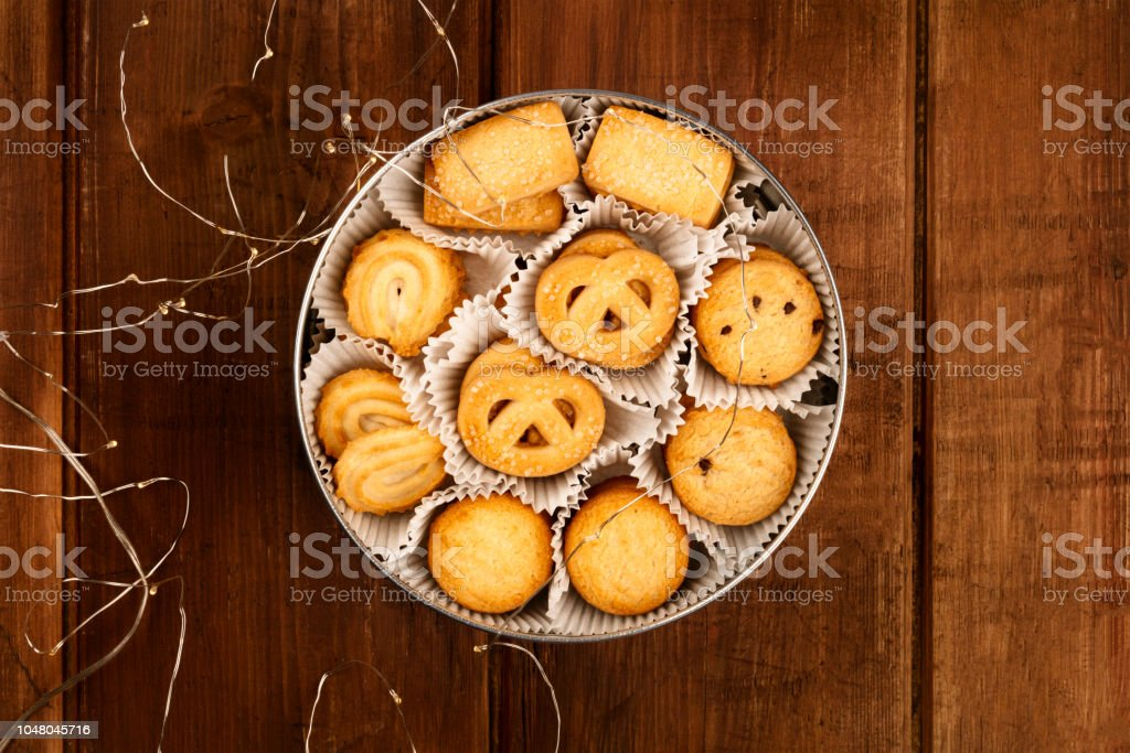 An Overhead Photo Of Danish Butter Cookies In The Traditional Tin