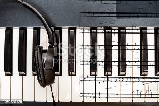 An overhead photo of piano keys with sheet music