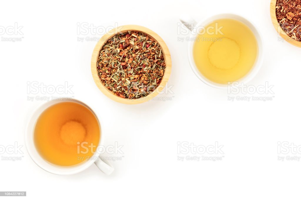 An overhead photo of tea, on a white background with copy space - foto stock