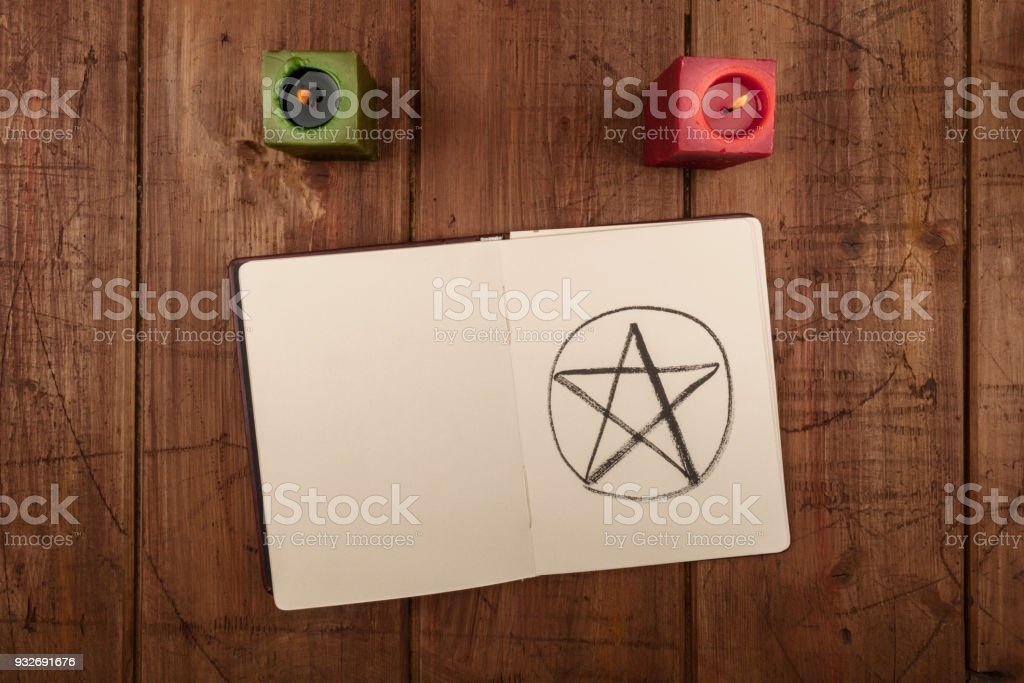 An overhead photo of two candles and an open grimoire with copy space stock photo