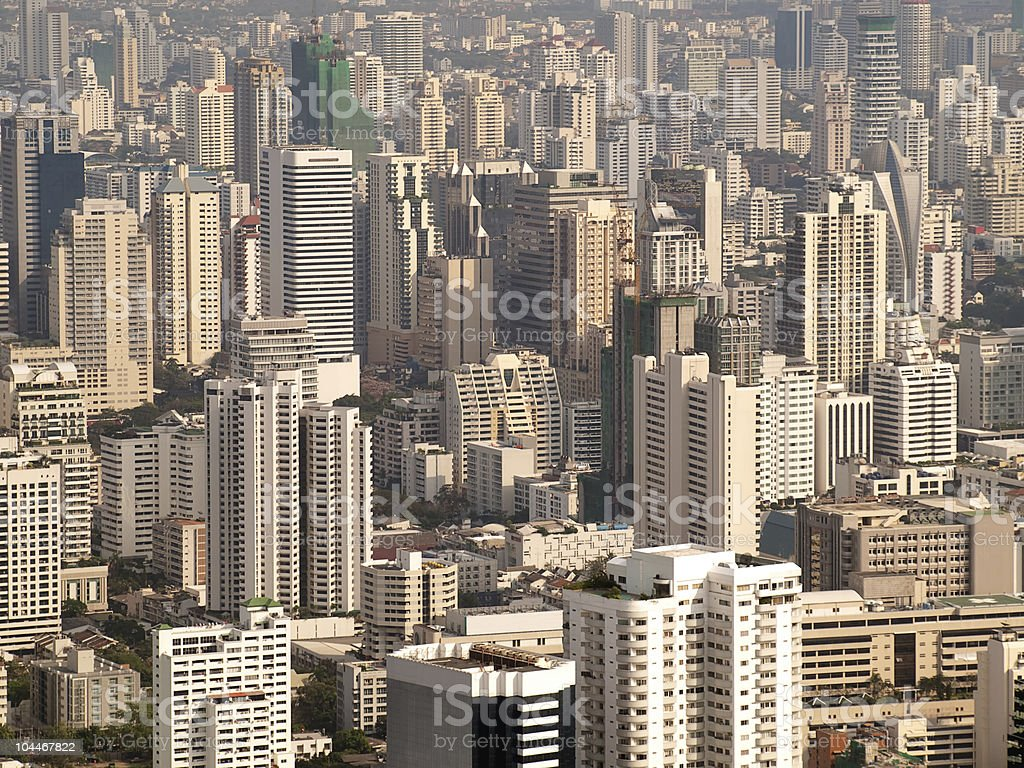 An overview of a city depicting urban life and concepts stock photo