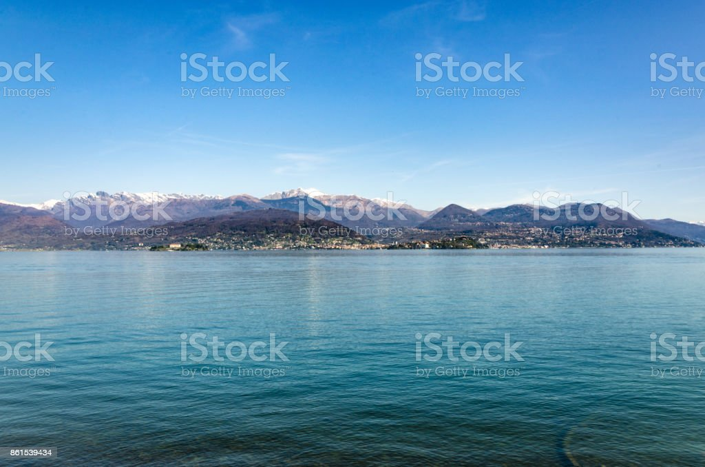 An overview of Lake Maggiore in front of Stresa stock photo