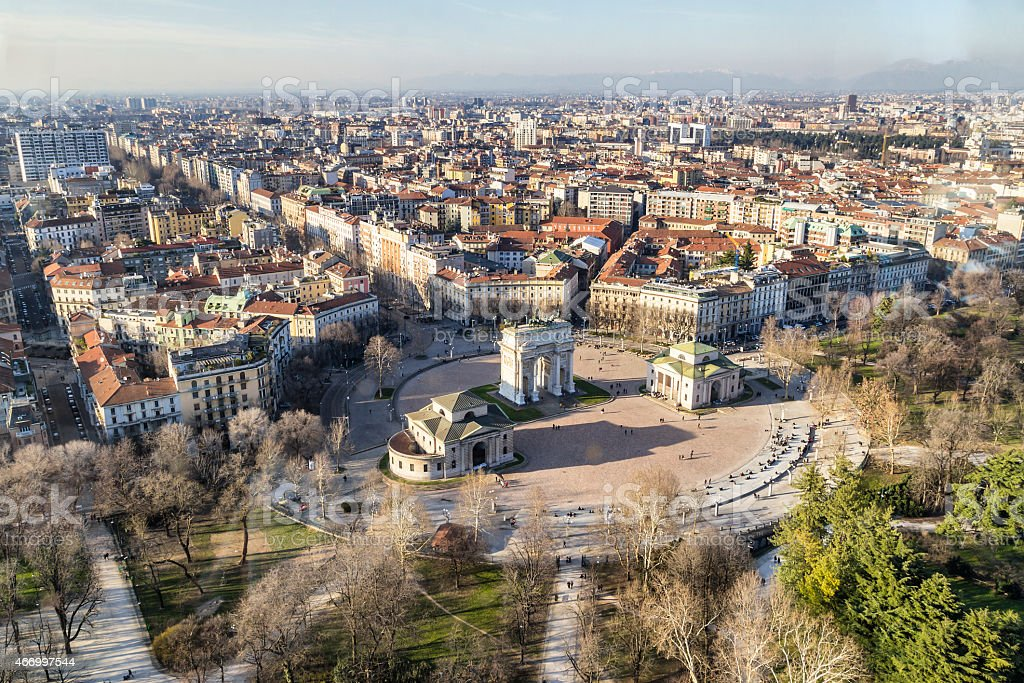 An overview of the city of Milan in Italy stock photo