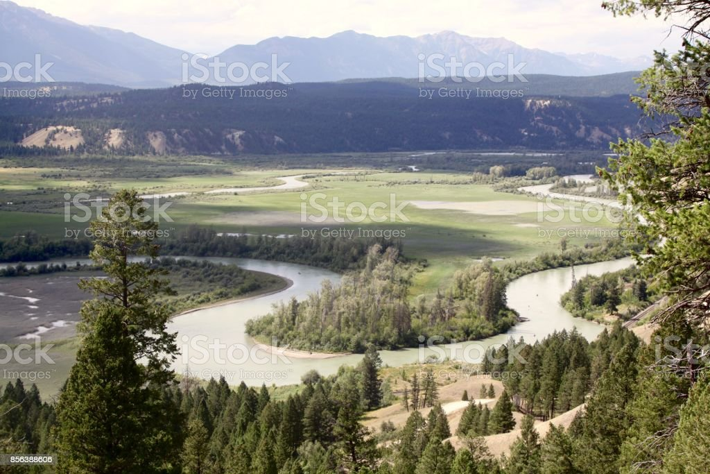 An Oxbow Bend Of The Columbia River Near Radium Hot Springs Canada stock photo