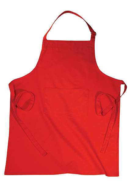 an red apron isolated on a white background - apron stock pictures, royalty-free photos & images
