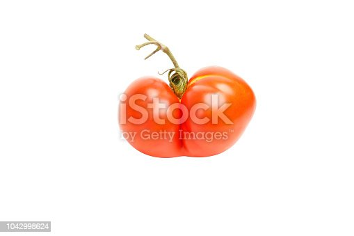 An ugly tomato looking like Siamese twins isolated on white background