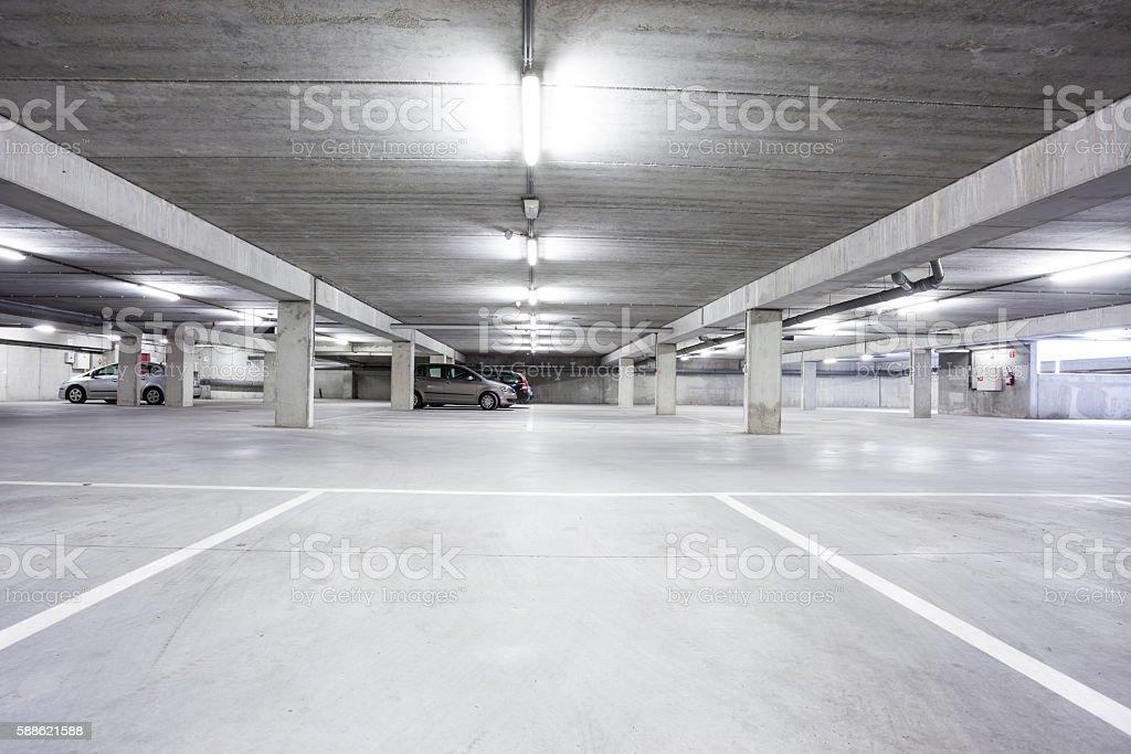 an underground garage stock photo