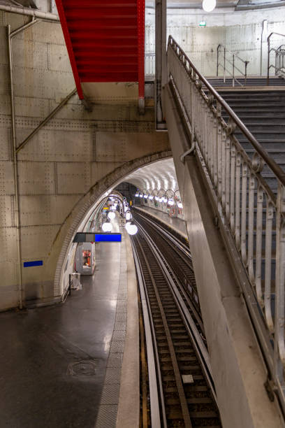 An underground subway station view of Paris seen from the stairs (Cité) stock photo