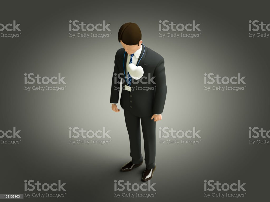 An uneasy man stock photo
