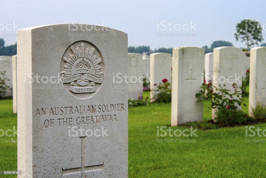 An unknown Australian soldier of the great world war one. stock photo