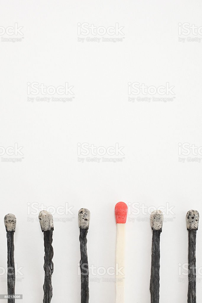 An unlit and burnt matches in a row royalty-free stock photo