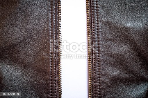 672414164istockphoto An unzipped brown leather jacket wide open 1014883180