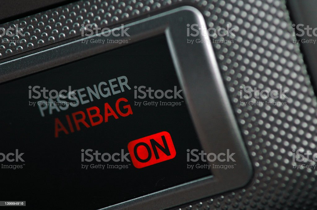 An up close image indicating the airbag is on stock photo