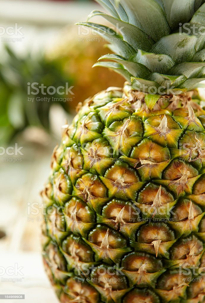An up close image of a pineapple royalty-free stock photo