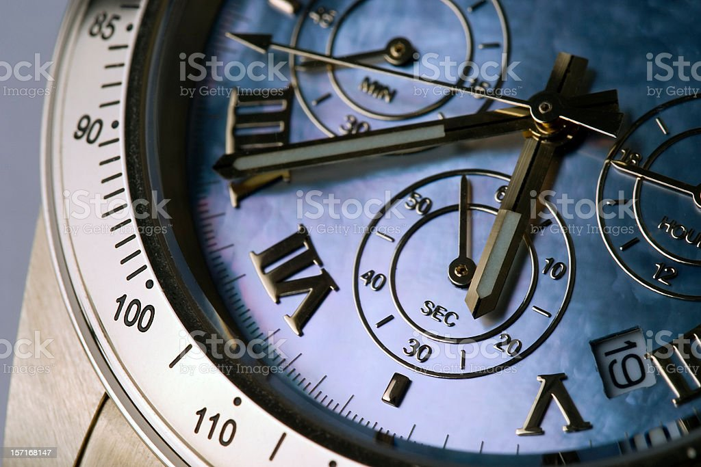 An up close picture of a chronograph royalty-free stock photo