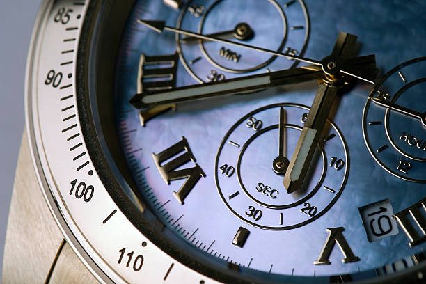 An up close picture of a chronograph stock photo