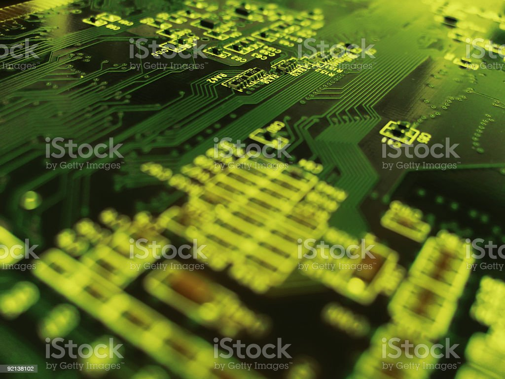 An up close picture of a circuit board royalty-free stock photo
