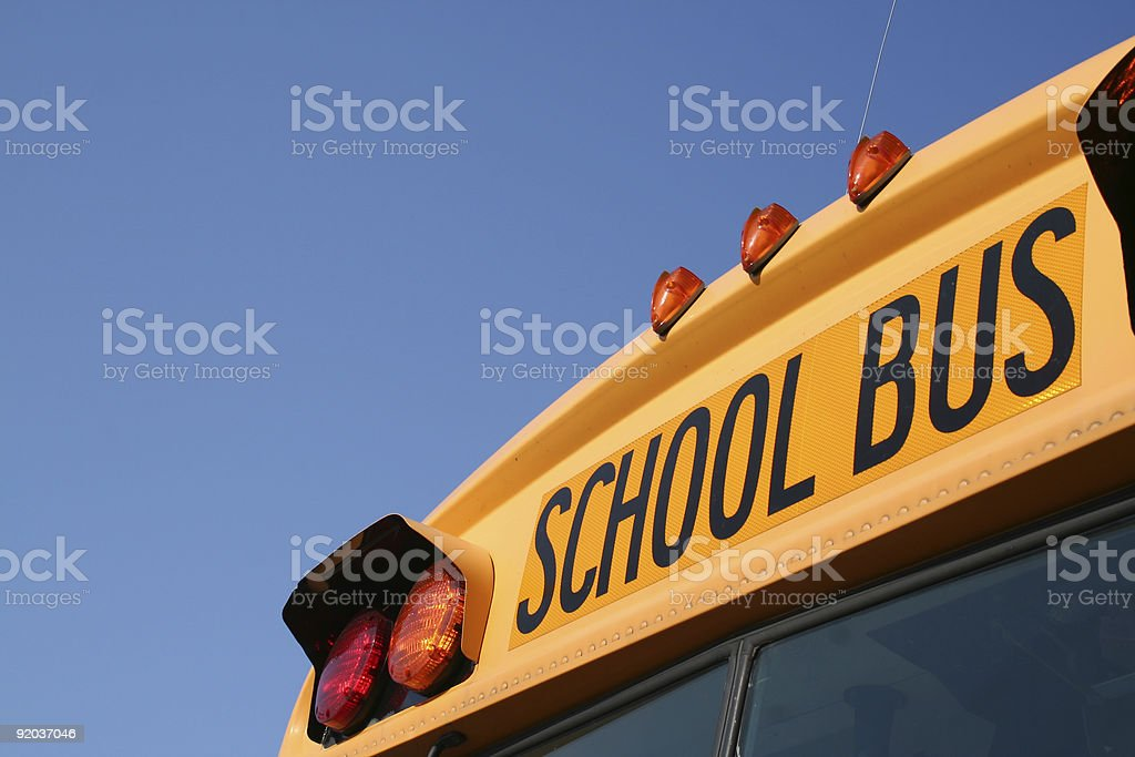 An up close picture of a school bus stock photo