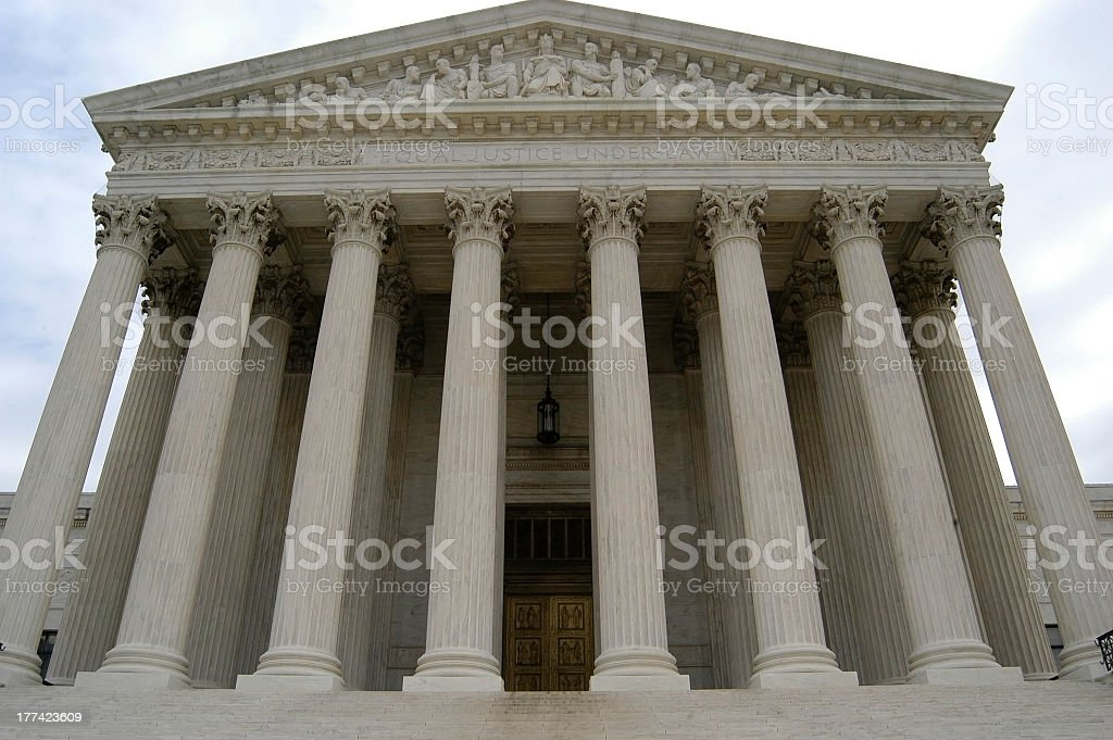 An up close picture of a Supreme Court building royalty-free stock photo