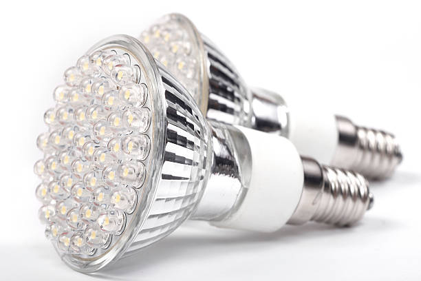 An up close picture of LED lights stock photo
