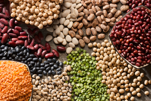 Piles of a variety of healthy organic legumes.