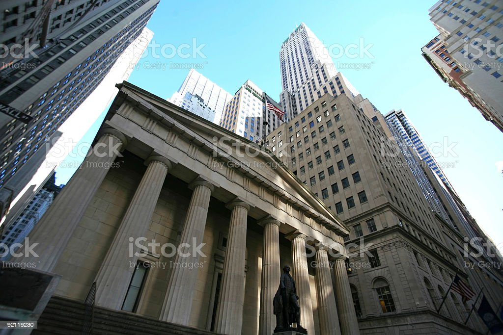 An up shot of classical New York classical New York - Wall street,  skyscrapers in Manhattan Built Structure Stock Photo