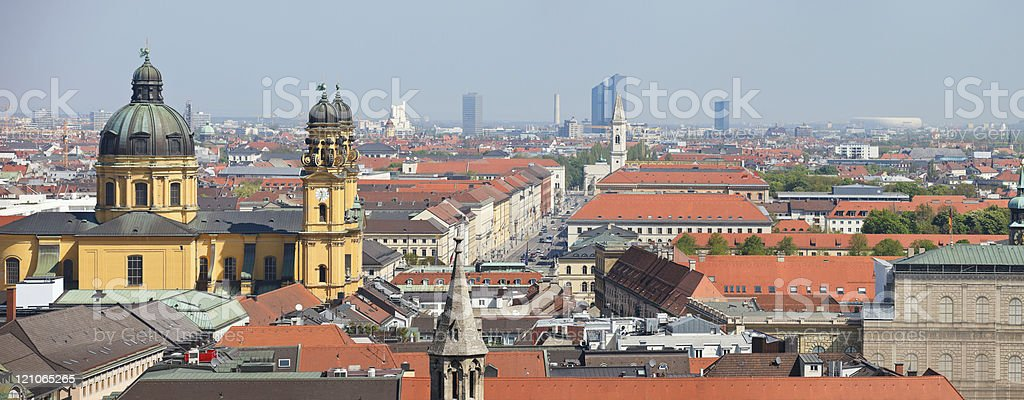 An upper view panorama of the buildings in Munich city royalty-free stock photo