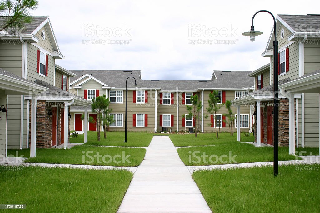 An upscale condominium community stock photo