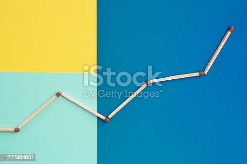 521911567 istock photo an upward bar chart of matches on a yellow, blue and blue background. top view 1222984631