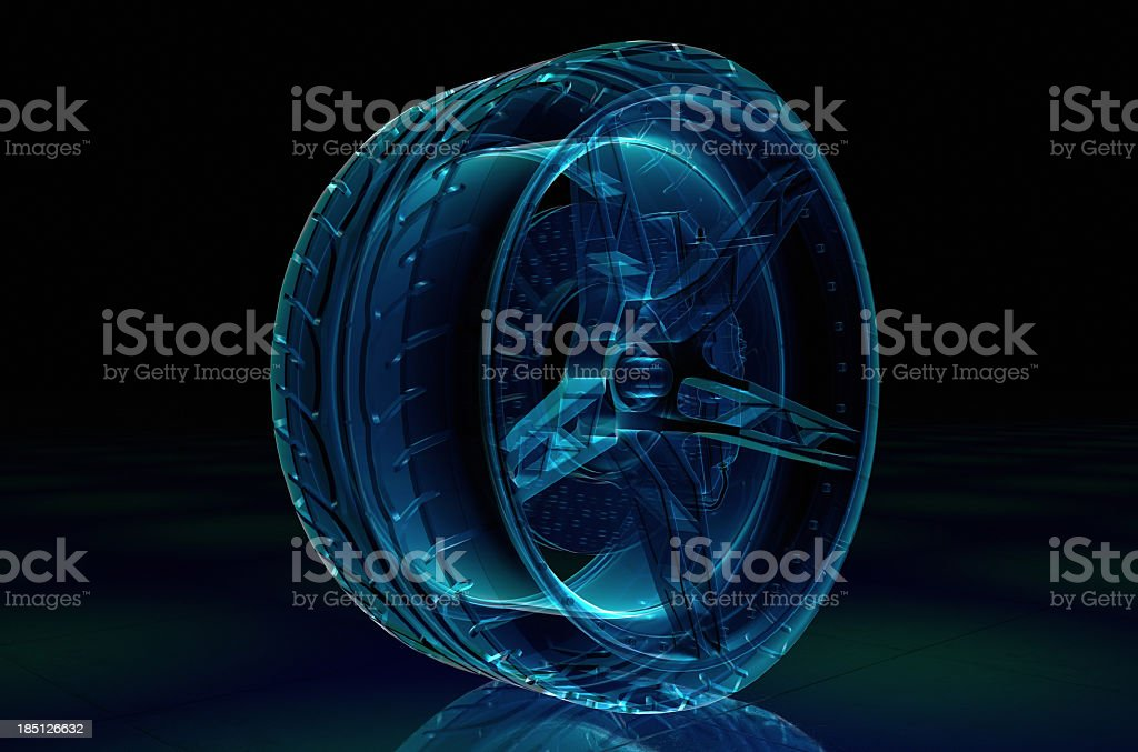 An X-Ray of a tire and brake system stock photo