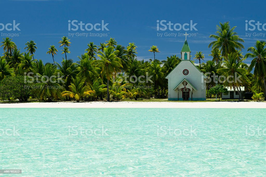 Anaa church on beach stock photo