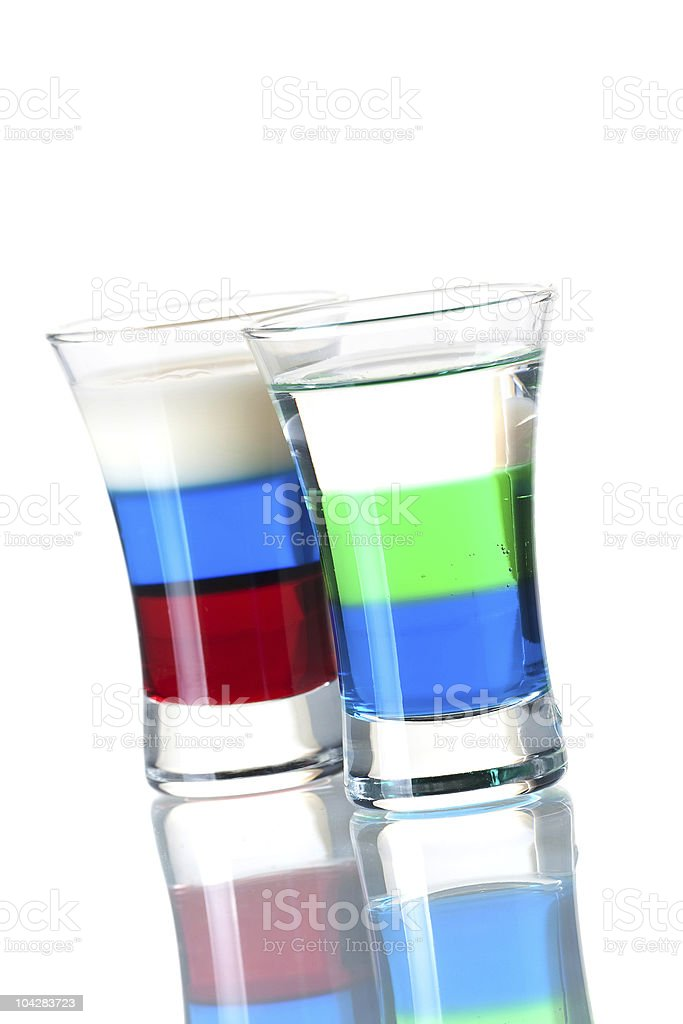 Anabolic and Russian Flag alcohol cocktails royalty-free stock photo