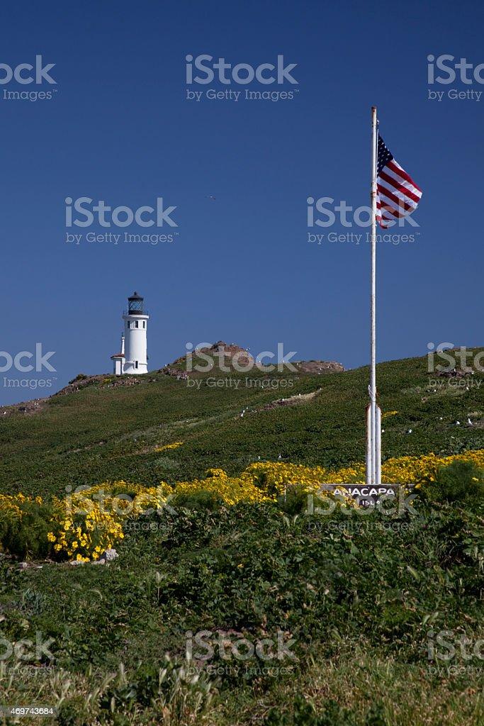 Anacapa Island, CA , Lighthouse & Flag stock photo