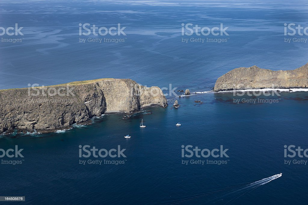 Anacapa Island, Ventura County, California aerial view stock photo