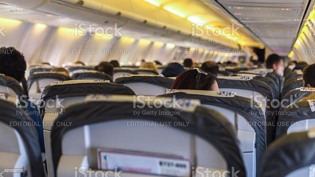 Anadolu Jet airplanes interior view. stock photo