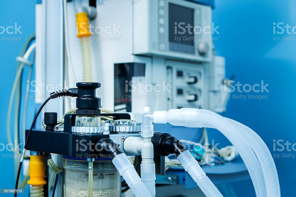 ICU anaesthesia ventilator workstation in the emergency room. stock photo