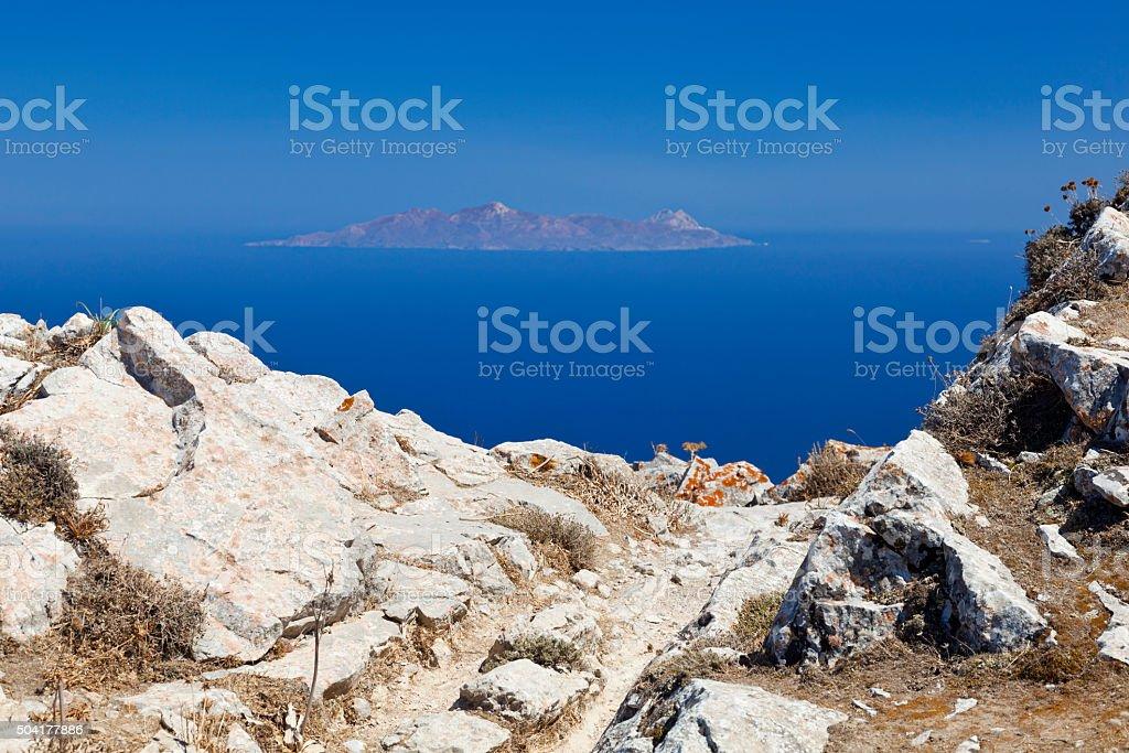 Anafi Island From Santorini, Greece stock photo