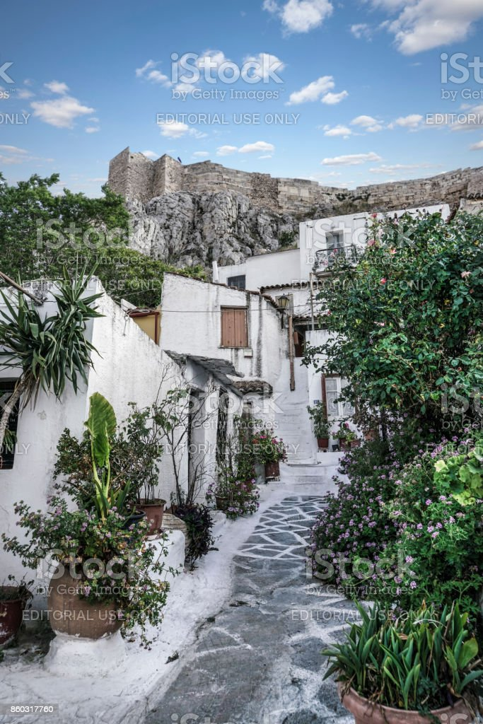 Anafiotika in the old town of Athens in Greece. stock photo