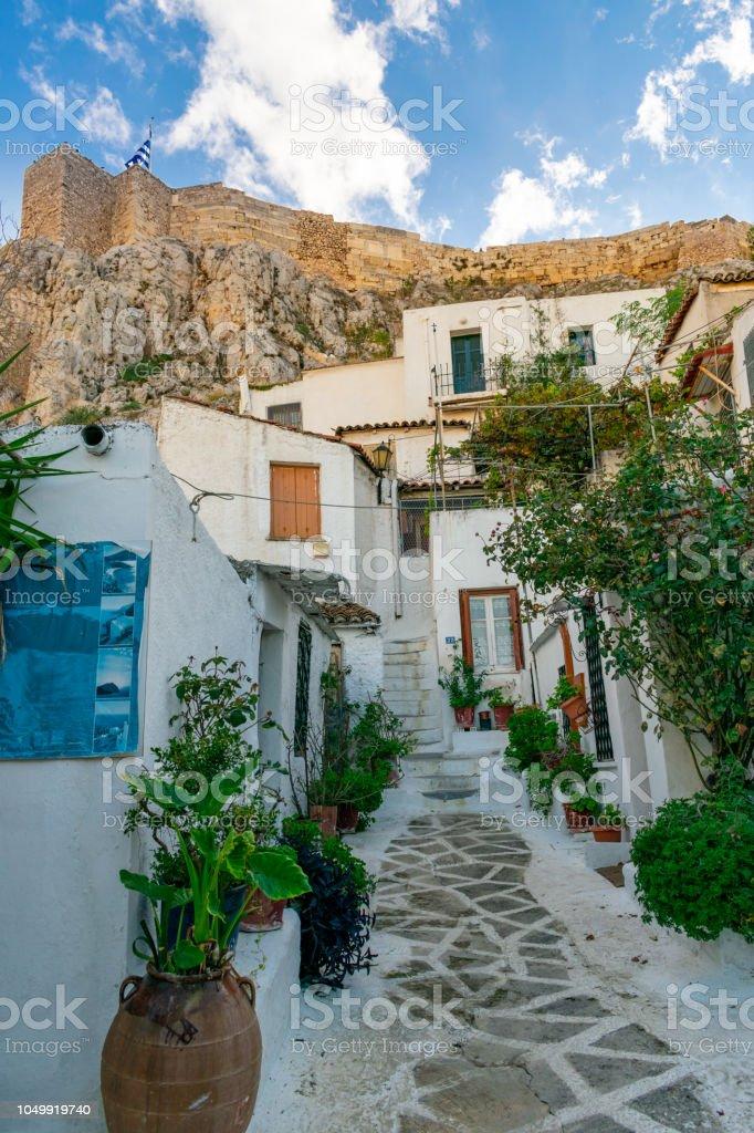 Anafiotika neighborhood under Acropolis, Athens, Greece stock photo