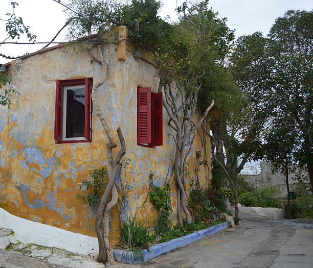 anafiotika plaka athen greece stock photo